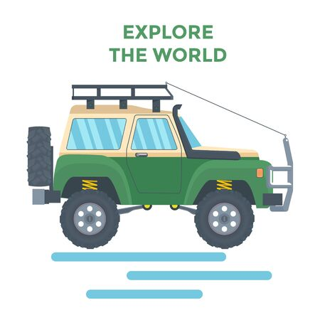 Offroad Vehicle with mud tire and roof rack. Vector Banque d'images - 133234342