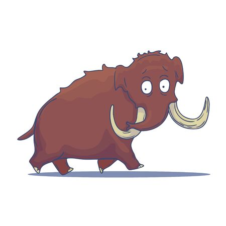 Cartoon Mammoth isolated on white background. Vector Çizim