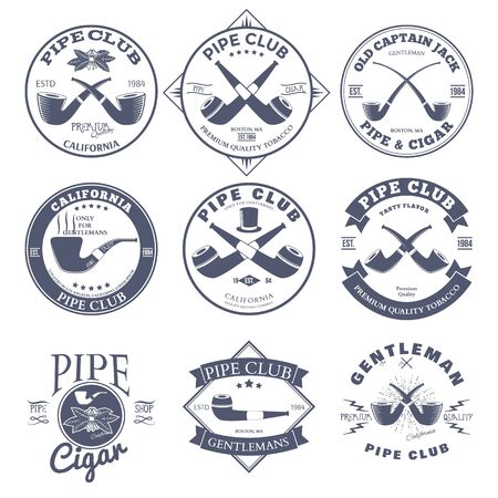 Set of Pipe Club Label and Badges Design Elements. Vector Stock Illustratie