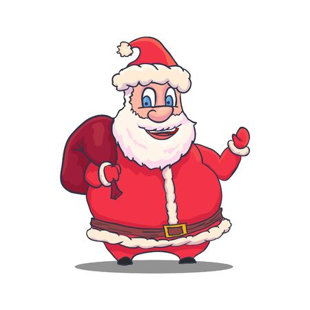 Cartoon Santa Claus Character on White Background. Vector