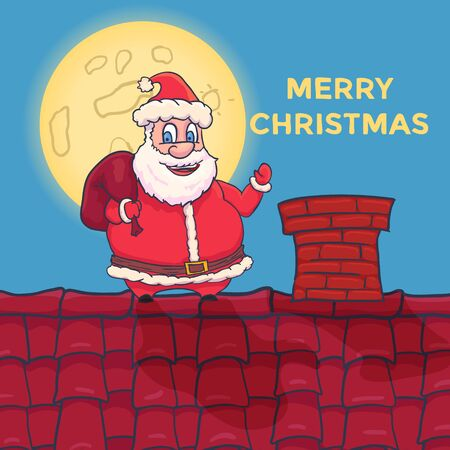 Cartoon Santa Claus Character standing on roof. Vector