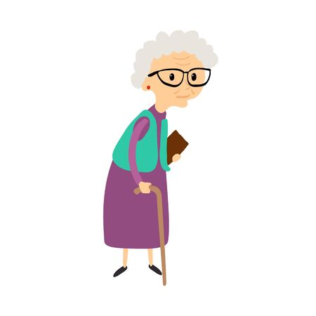 Old woman with cane. Senior lady with glasses walking. Vector.