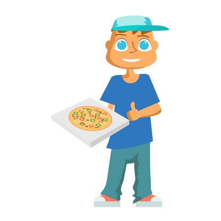 cartoon pizza delivery guy. Vector Ilustracja