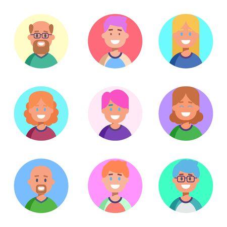 Flaches Design mit bunten Symbolen Sammlung von Personenavataren für Profilseite, soziales Netzwerk, soziale Medien, Mann- und Frauencharaktere unterschiedlichen Alters, professionelle menschliche Beschäftigung, Portfolio. Vektor-Illustration