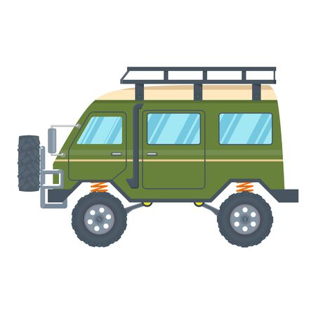 Off-road Vehicle Van with mud tire. Vector Banque d'images - 133234276