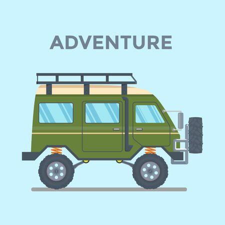 Off-road Vehicle Van with mud tire. Vector illustration Banque d'images - 133208627
