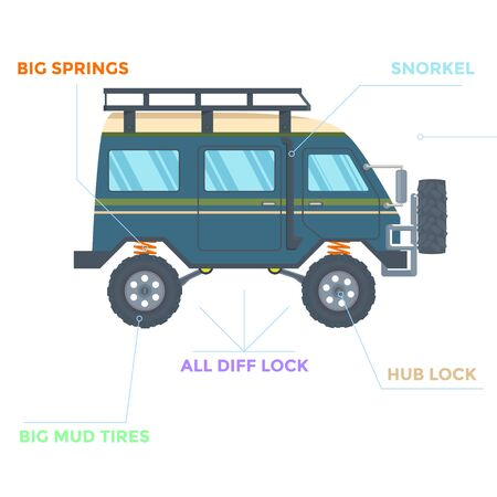 Off-road Vehicle Van with mud tire. Vector illustration Banque d'images - 133208752