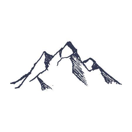 Montagne. Montagna di picchi rocciosi disegnati a mano. Vettore