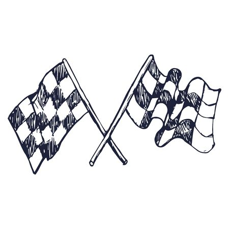 Two Checker Race Flags Crossed, doodle style, sketch illustration, hand drawn Vector Banque d'images - 133207112