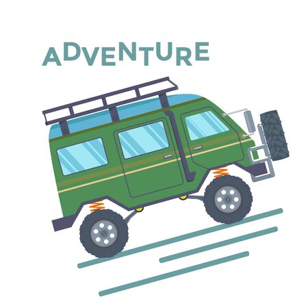 Off-road Vehicle Van with mud tire. Vector Banque d'images - 133234281