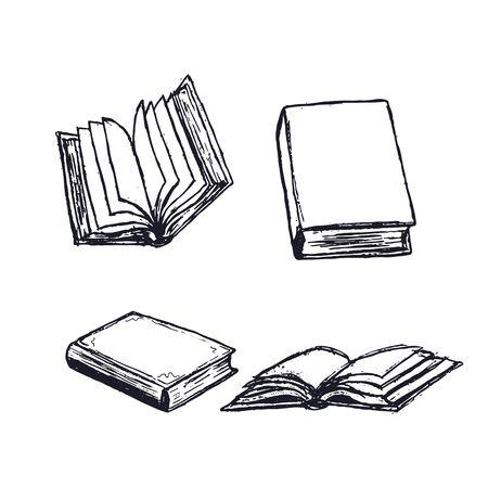 Ensemble d'illustrations dessinées à la main de livres. Journal ouvert, manuel de bibliothèque avec des pages vides isolées sur fond blanc. Cahier ou livre fermé. Lecture de littérature. Vecteurs