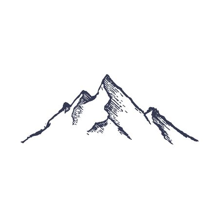 Mountains. Hand drawn rocky peaks mounstain. Vector 矢量图像