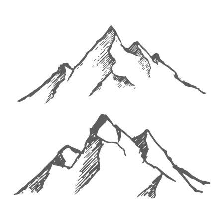 Mountains set. Hand drawn rocky peaks. Vector Фото со стока - 133234231