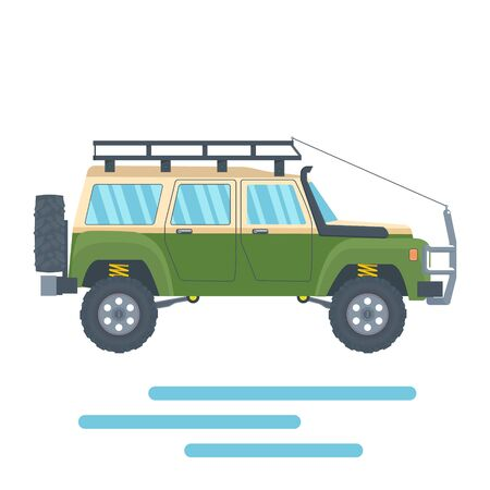 Offroad Vehicle with mud tire and roof rack. Vector illustration Banque d'images - 133234234