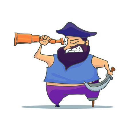 Cartoon one-legged Pirate with Spyglass. Vector Stock Illustratie