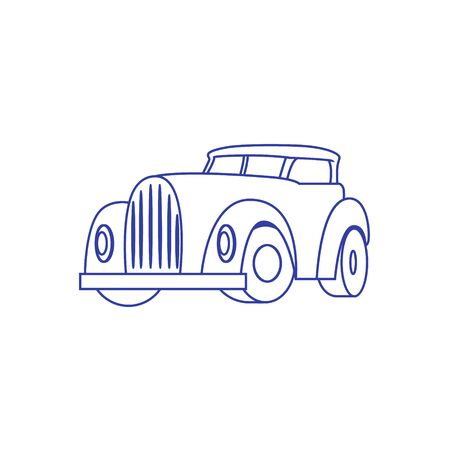 Cartoon Retro Car on white background. Vector Banque d'images - 133234243