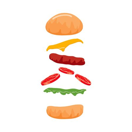 Colorful Burger isolated on with Background. Vector Archivio Fotografico - 133234244