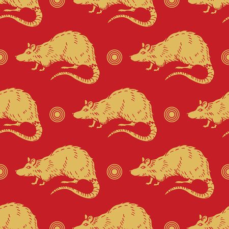 2020 Chinese New Year Background. year of the rat. Golden and red ornament. Concept for holiday banner template, decor element. Vector illustration Ilustração
