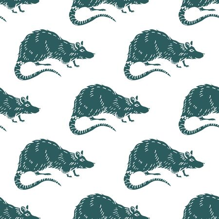 Rat or Mouse Seamless Pattern Background. Vector illustration