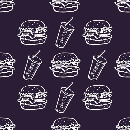 Hand Drawn Burger and Soda Drink Seamless Pattern Background. Vector