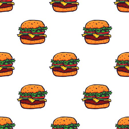 Hand Drawn Burger Seamless Pattern Background. Vector illustration