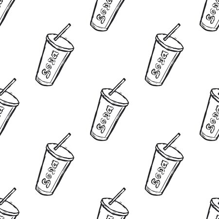 Hand Drawn Soda Drink Seamless Pattern Background. Vector illustration