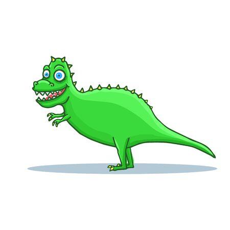 Hand Drawn Cartoon Dinosaur Tyrannosaurus Rex. T-rex Cartoon. Vector