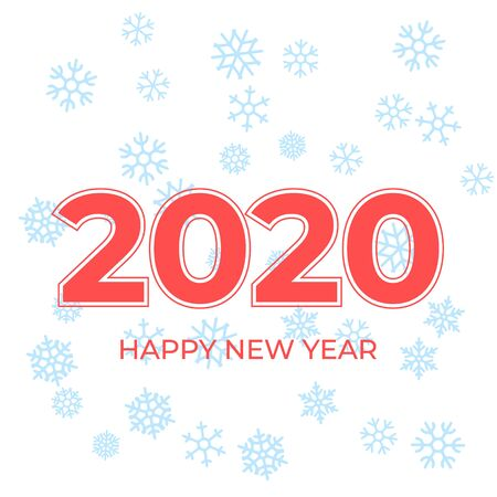 Happy New Year 2020 logo text design. Cover of business diary for 2020 with wishes. Brochure design template, card, banner. Vector