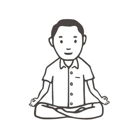 Hand Drawn Man Simple Style. Yoga Pose or Meditation Vector Stock Illustratie