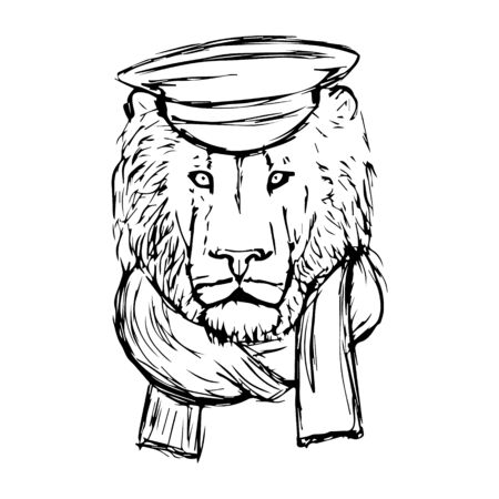 Hand Drawn Lion Head with Hat and Skarf. Lion Face. Vector