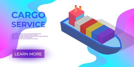 Isometric Cargo Ship with Container Flat Design. Delivery Service. Vector Ilustração