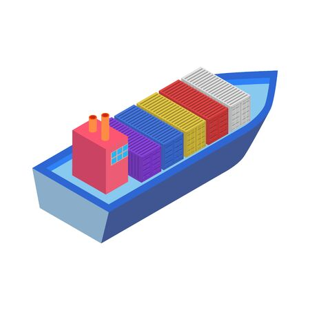 Isometric Cargo Ship with Container Flat Design. Delivery Service. Vector Illustration