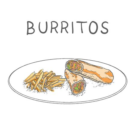 Burritos with fried Potatoes Hand Drawn on White Background. Vector Ilustração