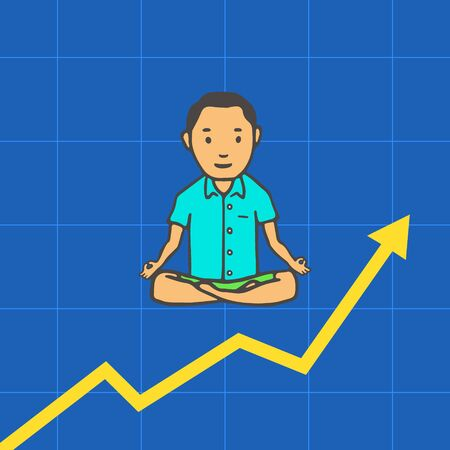 Hand Drawn Man Simple Style. Yoga Pose or Meditation with Investment Schedule. Vector
