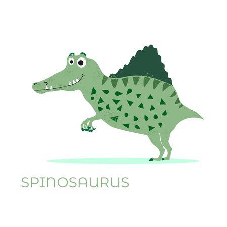 Cute dinosaur Spinosaurus cartoon drawn for tee print. Vector
