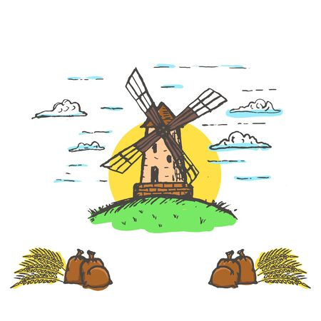Vector hand drawn bakery , badge, emblem. Windmill, smock mill illustration. Vector