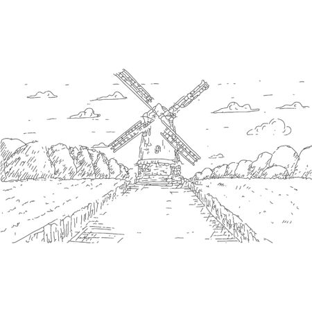 Hand drawn Windmill Pasta or Spaghetti Label package design. Vector