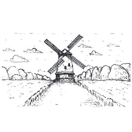 Handgezeichnete Windmühle Pasta oder Spaghetti Label Verpackungsdesign. Vektor Vektorgrafik