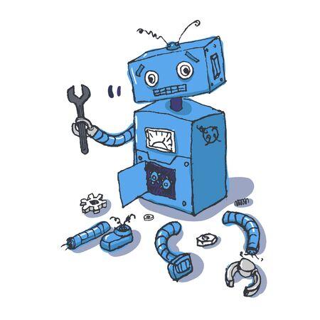 Hand drawn Brocken Robot Isolated on White background Vector Ilustração