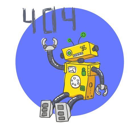 Hand drawn Brocken Robot. 404 Error page. Vector