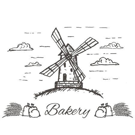 Vector hand drawn bakery , badge, emblem. Windmill, smock mill illustration. Vector