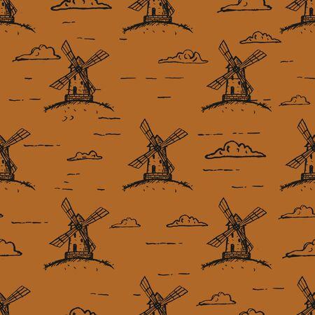 Hand Drawn Windmill Seamless Pattern Background. Vector Ilustração