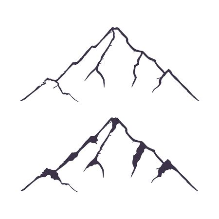 Mountains set. Hand drawn rocky peaks. Vector