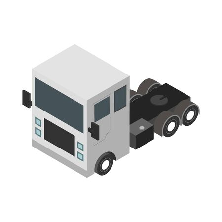 Flat design Isometric Tractor Unit. Truck Car. Vector