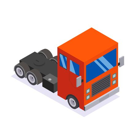 Flat design Isometric Tractor Unit. Truck Car. Vector Stock Vector - 136864716