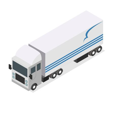 Flat design Isometric Tractor Unit. Truck Car with trailer. Vector