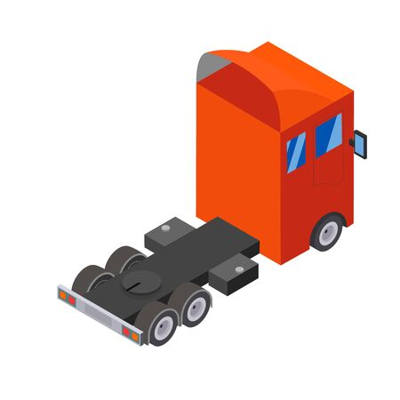 Flat design Isometric Tractor Unit. Truck Car without trailer. Vector illustration