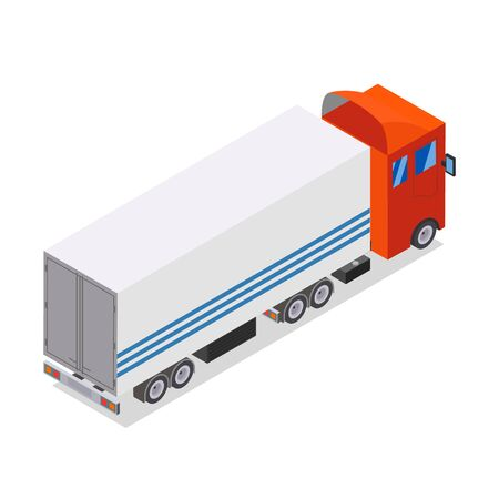 Flat design Isometric Tractor Unit. Truck Car with trailer. Vector illustration