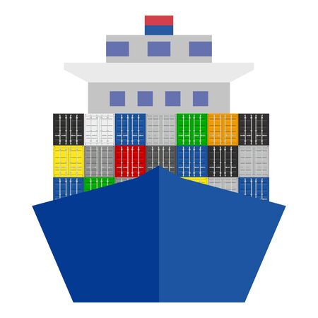 Big Ship with Cargo Containers. Front view . Vector