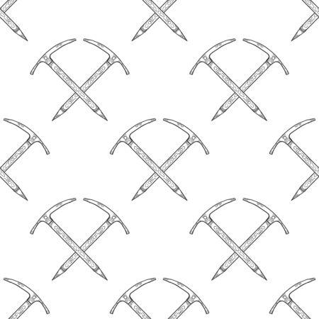 Hand Drawn Crossed Ice Axes Seamless Pattern. Mountaineering Tools. Vector Ilustração